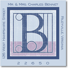Name Doodles - Square Address Labels/Stickers (Architect Blue)